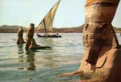 Sphinxes in rising waters at Aswan